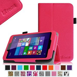 Linx EM-I8270 7 inch Tablet Case - Fintie Premium Vegan Leather Folio Stand Cover with Stylus Loop for Linx 7-inch Windows 8 Tablet, Magenta