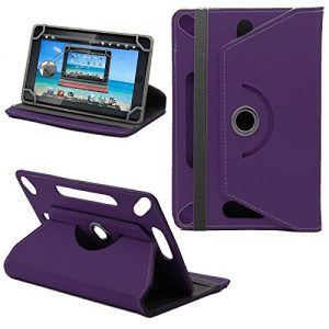 360° New TAN Universal Leather Stand Case Cover For Linx 7 inch Tablet - Plain Purple ( Designer - Folio - Colourful )