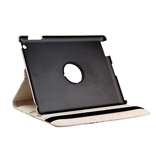 Revesun Leather Case Smart Cover Stand for Apple iPad Mini Purple 360 Rotating Map pattern