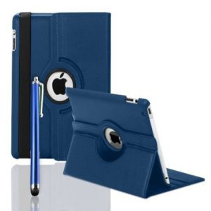 FullDream iPad 3 iPad 3rd Generation & New iPad 4 4th Generation & iPad 2 360 Rotating Leather Stand Cover Case With Magnetic Auto Sleep Wake, Including Screen Protector and Stylus Pen (Dark Blue)