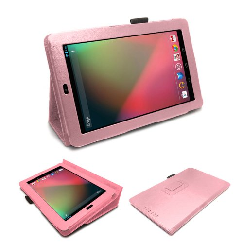 MOFRED® Baby Pink Luxury Multi Function Standby Case with Built-in Magnet for Sleep / Wake feature for the Google Nexus 7 Tablet (8GB,16GB,32GB or 32GB 3G HSPA+)- Second Updated Version w/Sleep Sensor + Screen Protector + Stylus Pen (Available in Mutiple Colors)