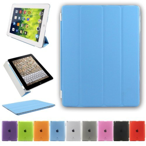 BesdataUltra Thin Magnetic Smart Cover + Back Case For Apple iPad 2 iPad 3 ipad 4, 2nd, 3rd & 4th Generation - Supreme Quality - Protects the Device - UK Stock - Blue - PT2602