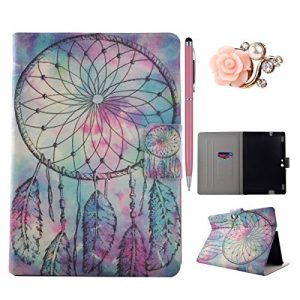 Amazon Kindle Fire HDX 8.9 Case, Amazon Kindle Fire HDX 8.9 Cover, Amazon Kindle Fire HDX 8.9 Folio Flip Case, Leather Case for Amazon Kindle Fire HDX 8.9 - Felfy Colorful Painting Pattern Fashion Stylish Dreamcatcher Design Ultra Thin Flip PU Leather Protective Stand Case Cover [Card Slot Case] [Magnetic Closure] for Amazon Kindle Fire HDX 8.9 inch (5rd generation - 2015 release), 1x Diamond Flower Dust Plug +1x Pink Stylus