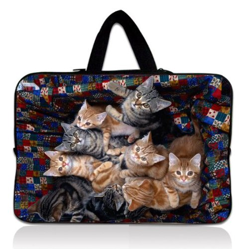 """Cute Cats Universal 10"""" Laptop Sleeve Bag Case Pouch + Handle For 9.7"""" 10.1"""" 10.2"""" inch Google Samsung Nexus 10 Tablet /samsung galaxy tab 10 /Lenovo Yoga 10 Android Tablet /Apple Ipad Air,4,3,2 /Archos Android Tablet Arnova 10 /Acer ICONIA 10.1"""" Android Tablet /Sony Xperia Tablet 10.1"""
