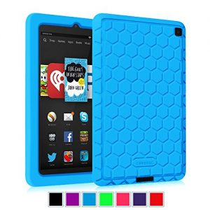 Fintie Fire HD 6 2014 Case - [Honey Comb Series] Light Weight [Anti Slip] Shock Proof Silicone Protective Cover [Kids Friendly] for Amazon Kindle Fire HD 6-Inch Tablet 2014 Release, Blue