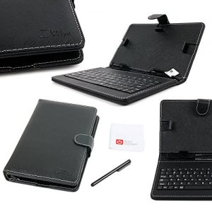 "DURAGADGET Black Faux Leather Protective Micro USB QWERTY Keyboard Case with Built In Kick-Stand - Compatible with the Lenovo TAB 2 A8 / Lenovo IdeaPad MIIX 300 8"" Tablet"
