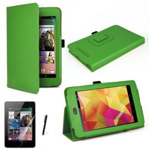 MOFRED® Green Luxury Multi Function Standby Case with Built-in Magnet for Sleep / Wake feature for the Google Nexus 7 Tablet (8GB,16GB,32GB or 32GB 3G HSPA+)- Second Updated Version w/Sleep Sensor + Screen Protector + Stylus Pen (Available in Mutiple Colors)