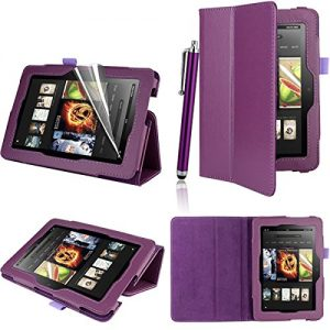 Executive PU Leather Amazon Kindle Fire HDX 7 inch 2013 Case Cover Multi Function Standby Bi-Fold Stand with Built-in Magnet for Sleep / Wake Feature + Screen Protector + Stylus Touch Pen for New Kindle Fire HDX 7-inch 2013 Tablet (Not for Kindle Fire HD 2013 or 2012 Model) - Purple
