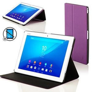 Forefront Cases® New Leather Clam Shell Case Cover for Sony Xperia Z4 Tablet 10.1 SGP771 (Released June 2015) - Full device protection and Smart Auto Sleep Wake function with 3 YEAR FOREFRONT CASES WARRANTY + STYLUS & SCREEN PROTECTOR
