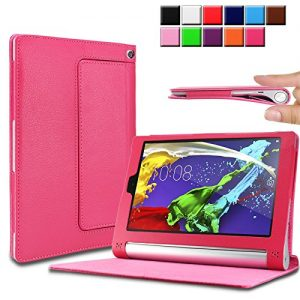 Infiland Lenovo Yoga Tablet 2 8.0 tablet Case Cover- Folio PU Leather Slim Stand Case Cover for Lenovo Yoga Tablet 2 8-Inch (with Auto Sleep / Wake Feature)(Magenta)