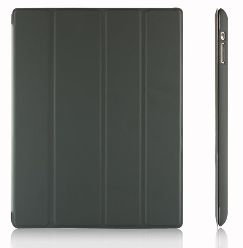 JETech Gold Slim-Fit iPad Smart Cover Case for Apple iPad 2 iPad 3 iPad 4 (2014 Version with Built-in Stand and Front/Back Protection and Built-In Magnet for Sleep/Wake Feature) (Dark Grey) - 0215