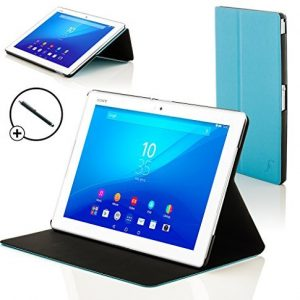 Forefront Cases® New Leather Clam Shell Case Cover for Sony Xperia Z4 Tablet 10.1 SGP771 (Released June 2015) - Full device protection and Smart Auto Sleep Wake function with 3 YEAR FOREFRONT CASES WARRANTY + STYLUS
