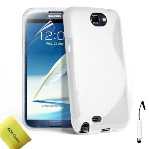 AOA Cases® Tpu Gel Case Back Cover For Samsung Galaxy Note 2 + Stylus + Screen Protector (Samsung Galaxy Note 2 N7100, White)