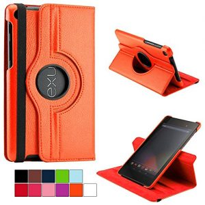 COOVY® 360° DEGREE SMART ROTATING COVER CASE FOR ASUS GOOGLE NEXUS 7 2013 (2. GENERATION) STAND HOUSING PROTECTION color orange