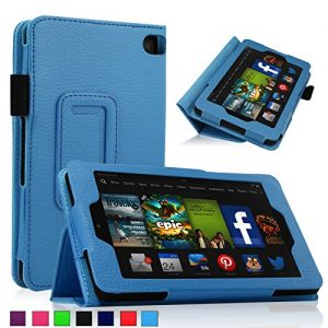 Infiland 2014 Fire HD 6 Case Cover - Folio PU Leather Stand Case Cover With Smart Cover Auto Wake/Sleep Case For Amazon New Kindle Fire HD 6.0 Inch 4th Generation Tablet (Fire HD 6, Blue)