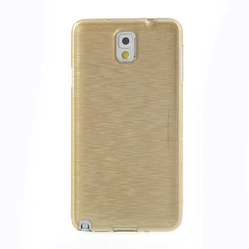 Samsung Galaxy Note 3 Phone Silicone Gel Skin Jacket Back Case Cover Gold+2 Screen Protectors (Note 3, Gold)