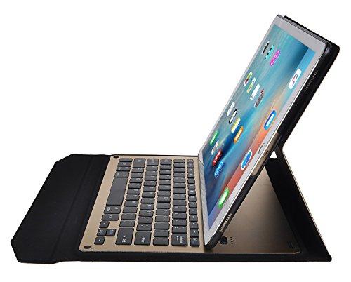 IVSO Apple iPad Pro 12.9-Inch Aluminum Bluetooth Keyboard Portfolio Case - ALUMINUM Bluetooth Keyboard Stand Case / Cover for Apple iPad Pro 12.9-Inch Tablet(Gold)