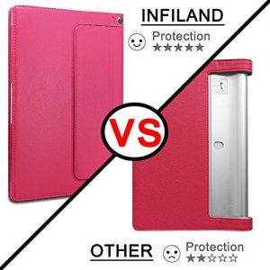 Infiland Lenovo Yoga Tablet 2 10.1 Case Cover- Folio PU Leather Slim Stand Case Cover for Lenovo Yoga Tablet 2 10.1-Inch Android and Windows Version (with Auto Sleep / Wake Feature)(Magenta)