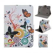 """Tsmine Lenovo IdeaPad Miix 10.1"""" Tablet Flip Butterfly Flower Case - Universal Protective Lightweight Premium Fashion Flora Printed PU Leather Case Cover, Butterflies Floweres"""
