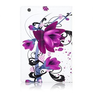 32nd® Designer Book Style Faux Leather Folio Case Cover for Sony Xperia Z4 Tablet (SGP771) - Purple Rose Design