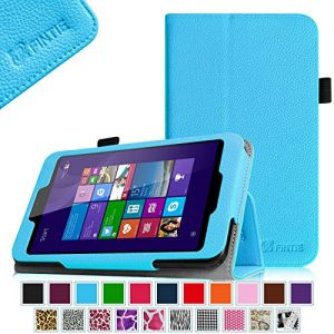Linx EM-I8270 7 inch Tablet Case - Fintie Premium Vegan Leather Folio Stand Cover with Stylus Loop for Linx 7-inch Windows 8 Tablet, Blue