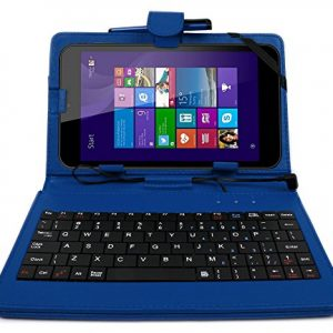DURAGADGET Deluxe Blue Keyboard Folio Case for the NEW Linx 7-inch Tablet - Eco-Friendly Faux Leather with Built-In Stand and BONUS Stylus