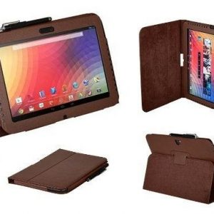 King Of Flash Google Nexus 10 Brown Smart PU Leather Case With Stand With Stylus & Screen Protector
