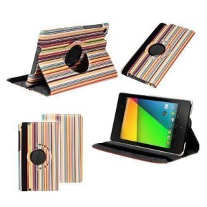 Neotechs® Vintage Multi Coloured Stripes Rotating Leather 360° Stand Case Cover for 2013 Google Nexus 7 II 2Gen 2nd Gen