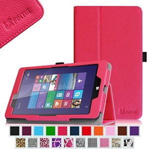 Linx 8 inch / Linx 810 8-Inch Tablet Case - Fintie Premium Vegan Leather Folio Stand Cover with Stylus Loop for Linx 8-inch Windows 8 / Linx 810 8-Inch Windows 10 Tablet, Magenta