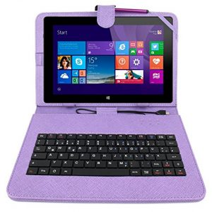 DURAGADGET Purple Keyboard Case for Linx 1010 Windows 8 Tablet & Linx 10 Inch - Durable Faux Leather Protective Case Cover With Micro USB Keyboard