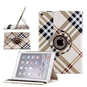 360 Degrees Rotating PU Leather Case Smart Cover Stand for iPad Air 2 (iPad 6) 2014 Model Tablet Case w Stylus Pen (Yellow Plaid Pattern)