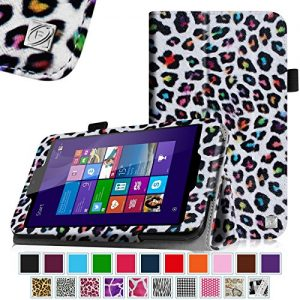 Linx EM-I8270 7 inch Tablet Case - Fintie Premium Vegan Leather Folio Stand Cover with Stylus Loop for Linx 7-inch Windows 8 Tablet, Leopard Rainbow