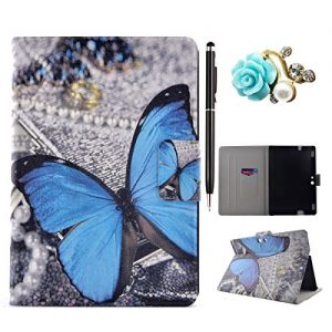 Amazon Kindle Fire HDX 8.9 Case, Amazon Kindle Fire HDX 8.9 Cover, Amazon Kindle Fire HDX 8.9 Folio Flip Case, Leather Case for Amazon Kindle Fire HDX 8.9 - Felfy Colorful Painting Pattern Fashion Stylish Blue Butterfly Design Ultra Thin Flip PU Leather Protective Stand Case Cover [Card Slot Case] [Magnetic Closure] for Amazon Kindle Fire HDX 8.9 inch (5rd generation - 2015 release), 1x Diamond Flower Dust Plug +1x Black Stylus
