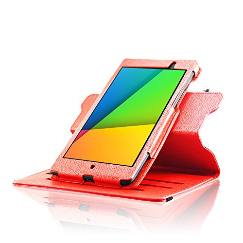 ForeFront Cases® New Google Nexus 7 FHD Rotating Leather Case Cover / Stand For Google Nexus 7 FHD Tablet (7-Inch, 16GB, Black) by ASUS (2013) with Magnetic Auto Sleep Wake Function - RED