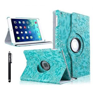 iPad 4 Case, TabPow [360 Degrees][Flip][Smart Case] Grapevine PU Leather Flip Case [Magnetic Closure] Smart Cover With Stand [Auto Sleep/Wake] For Apple iPad 2/3/4, Turquoise