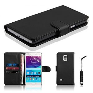 Connect Zone® Samsung Galaxy Note 3 Black Premium PU Leather Flip Wallet Case Cover Pouch + Polishing Cloth + Polishing Cloth & Mini Touch Screen Stylus