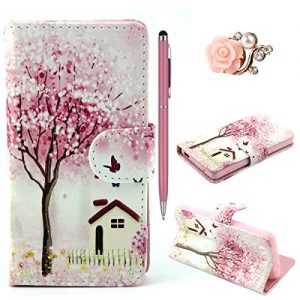 Felfy Beautiful Trees PU Leather Flip Case Wallet Cover for Sony Xperia Z3 + 1x Pink Flower Dust Plug + 1x Pink Stylus