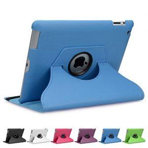 doupi ® 360° Smart Flip Cover for Apple iPad 2 3 4 Deluxe Leatherette Protective Case Sleep / Wake Function 360 Degree Rotatable Stand Screen Protector Blue