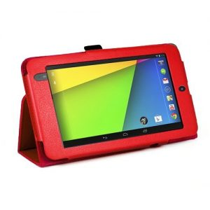 MOFRED® Red New Google Nexus 7 2 II Tablet (Launched July 2013) Case-(Second Updated Version of Case)-MOFRED® Executive Multi Function Case with Built-in Magnet for Sleep / Wake feature for the Google Nexus 7 II-2nd Generation Tablet 16GB or 32GB eMMC ,Qualcomm Snapdragon S4 1.5GHz Processor, Screen Protector + Stylus Pen (Available in Mutiple Colors) (Red)