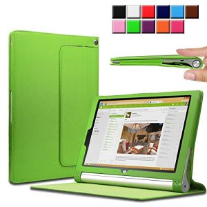 Infiland Lenovo Yoga Tablet 2 10.1 Case Cover- Folio PU Leather Slim Stand Case Cover for Lenovo Yoga Tablet 2 10.1-Inch Android and Windows Version (with Auto Sleep / Wake Feature)(Green)