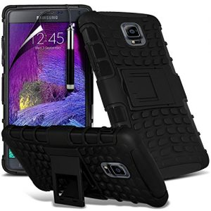 ( Black ) Samsung Galaxy Note 4 Case Protective Elegant Case Tough Survivor Hard Rugged Shock Proof Heavy Duty Case W/ Back Stand, LCD Screen Protector Guard, Polishing Cloth & Mini Retractable Stylus Pen by Aventus