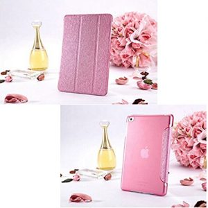Contever® Rose Red Elegant Silk Pattern Trifold Case Protective Cover / Stand for Apple ipad 5/ipad air + 1x Free Screen Protector + 1x Free Touch Pen--Rose Red