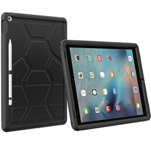 iPad Pro 12.9 Case - Poetic Turtle Skin Series [Corner/Bumper Protection][Tactile side Grip][Sound-Amplification][Bottom Air Vents] Protective Silicone Case w/ Pencil Holder for iPad Pro 12.9 Black