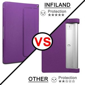 Infiland Lenovo Yoga Tablet 2 10.1 Case Cover- Folio PU Leather Slim Stand Case Cover for Lenovo Yoga Tablet 2 10.1-Inch Android and Windows Version (with Auto Sleep / Wake Feature)(Purple)