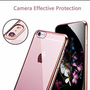 APPLE IPHONE 7 CASE (ROSE GOLD) FLEXIBLE SILICON CASE WITH A METAL EFFECT EDGE VISUAL TRANSPARENCY CASE COVER