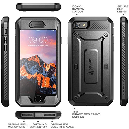 iPhone 7 Case, SUPCASE Full-body Rugged Holster Case with Built-in Screen Protector for Apple iPhone 7 (2016 Release), Unicorn Beetle PRO Series – Retail Package (Black/Black)