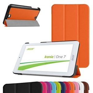 """Acer Iconia B1-770 Slim Shell Case,Mama Mouth Ultra Slim Lightweight 3-folding PU Leather Standing Cover For 7"""" Acer Iconia B1-770 Android Tablet,Orange"""