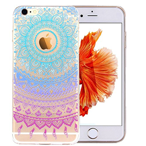 iPhone 6S Case,3H iPhone 6/6S Case HD Pattern Elastic Translucent Silicone Shock-Absorption Soft Gel TPU Bumper Back Cover Skin Protective Case for iPhone 6/6S 4.7 Inch(Blue Purple Tribal Mandala)