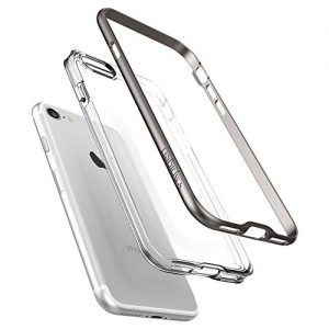 SPIGEN Neo Hybrid Crystal BUMPER Clear TPU/PC Frame Slim Dual Layer Premium Cover Case for Apple iPhone 7 - Gunmetal