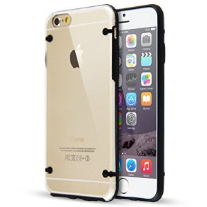 DeviceFun TM - Clear PC and TPU Gel Silicone Bumper Case Cover For iPhone 6 and iPhone 6S (4.7 Inches) with FREE Screen Protector - Black